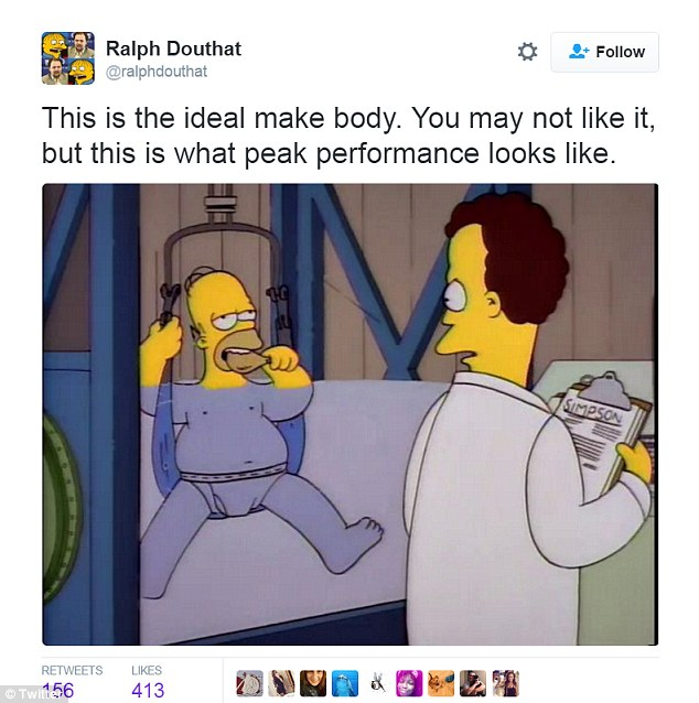 Ralph Douthat used a picture of Homer SImpson gorging on a chicken drumstick