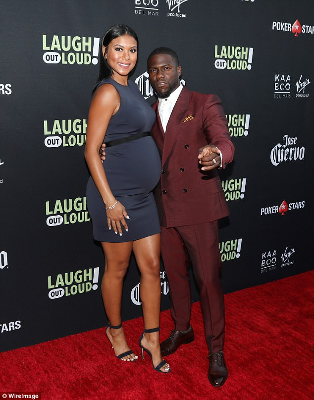 Expecting: The news comes as Hart and his wife Eniko, seen here last month in LA, are expecting a baby boy
