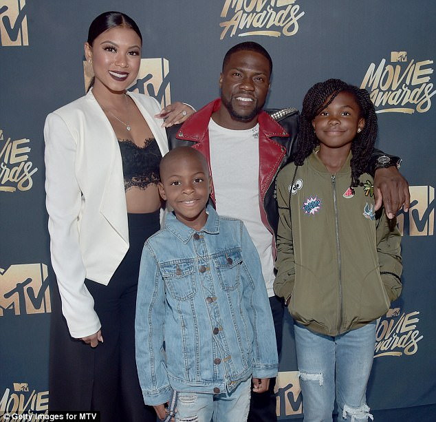 Hart, who has two children with ex-wife Torrei Hart - 12-year-old daughter Heaven and nine-year-old son Hendrix (pictured in April 2016) - is expecting a son with Eniko